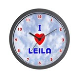 I Love Leila (Red/Bl) Valentine Wall Clock