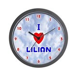 I Love Lilian (Red/Bl) Valentine Wall Clock