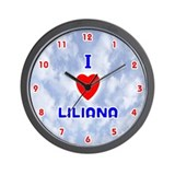 I Love Liliana (Red/Bl) Valentine Wall Clock