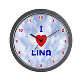 I Love Lina (Red/Bl) Valentine Wall Clock