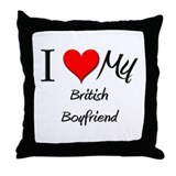 I Love My British Boyfriend Throw Pillow