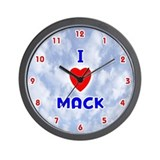 I Love Mack (Red/Bl) Valentine Wall Clock
