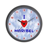I Love Maribel (Red/Bl) Valentine Wall Clock