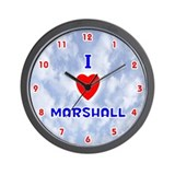 I Love Marshall (Red/Bl) Valentine Wall Clock