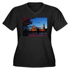 London Eye Women's Plus Size V-Neck Dark T-Shirt