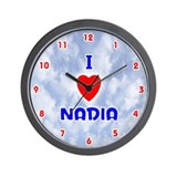 I Love Nadia (Red/Bl) Valentine Wall Clock