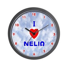 I Love Nelia (Red/Bl) Valentine Wall Clock