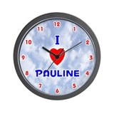 I Love Pauline (Red/Bl) Valentine Wall Clock