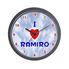 I Love Ramiro (Red/Bl) Valentine Wall Clock