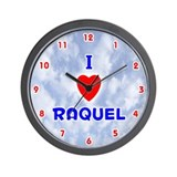 I Love Raquel (Red/Bl) Valentine Wall Clock
