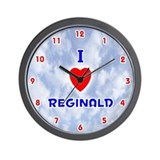I Love Reginald (Red/Bl) Valentine Wall Clock