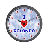 I Love Rolando (Red/Bl) Valentine Wall Clock