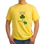 KISS ME IM IRISH AND FRENCH Yellow T-Shirt