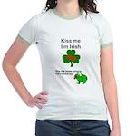 KISS ME IM IRISH AND FRENCH Jr. Ringer T-Shirt