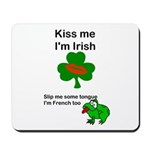 KISS ME IM IRISH, FROG WITH TONGUE Mousepad
