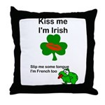 KISS ME IM IRISH, FROG WITH TONGUE Throw Pillow