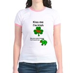 KISS ME IM IRISH, FROG WITH TONGUE Jr. Ringer T-Sh