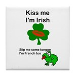 KISS ME IM IRISH, FROG WITH TONGUE Tile Coaster