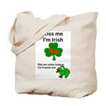 KISS ME IM IRISH, FROG WITH TONGUE Tote Bag