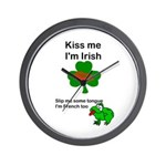 KISS ME IM IRISH, FROG WITH TONGUE Wall Clock