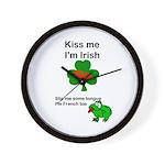KISS ME IM IRISH, FROG WITH TONGUE Wall Clock