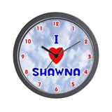 I Love Shawna (Red/Bl) Valentine Wall Clock