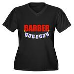 Retired Barber Women's Plus Size V-Neck Dark T-Shi