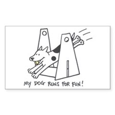 My Dog Runs For Fun-Flyball Rectangle Stickers