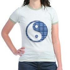 Blue Plaid Yin & Yang Symbol T