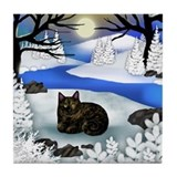 TORTOISESHELL CAT FROZEN RIVER Tile Coaster