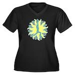 CENTERED YOGA Women's Plus Size V-Neck Dark T-Shir