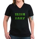 IRISH BABY (Celtic font) Women's V-Neck Dark T-Shi