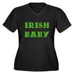 IRISH BABY (Celtic font) Women's Plus Size V-Neck