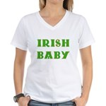 IRISH BABY (Celtic font) Women's V-Neck T-Shirt