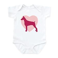 Doberman Pinscher Valentine's Day Infant Bodysuit