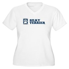 SILKY TERRIER Womes Plus-Size V-Neck T-Shirt