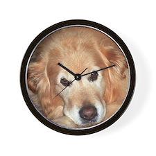 Cute Golden retriever puppy Wall Clock