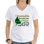 Voices in my head - snowmobile Women's V-Neck T-Sh