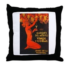 Vintage Cognac Wine Poster Throw Pillow