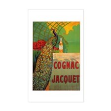 Vintage Cognac Wine Poster Rectangle Decal