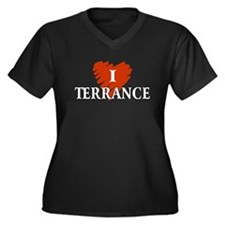 I Love Terrance Women's Plus Size V-Neck Dark T-Sh