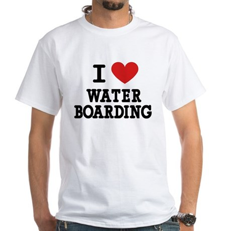 I Love Water Boarding White T-Shirt