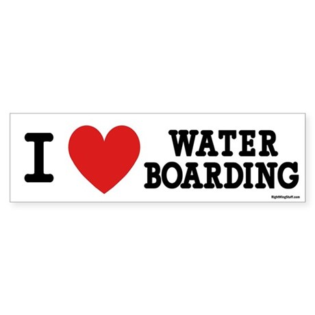 I Love Water Boarding Bumper Sticker