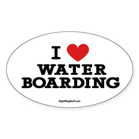I Love Water Boarding Oval Sticker
