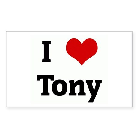 I Love Tony Rectangle Sticker