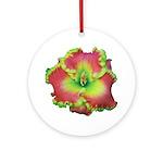 Pink w/ Green Edge Daylily Ornament (Round)