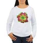 Pink w/ Green Edge Daylily Women's Long Sleeve T-S