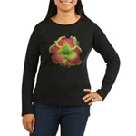 Pink w/ Green Edge Daylily Women's Long Sleeve Dar