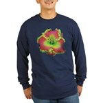 Pink w/ Green Edge Daylily Long Sleeve Dark T-Shir