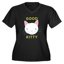 Here Kitty Kitty Women's Plus Size V-Neck Dark T-S